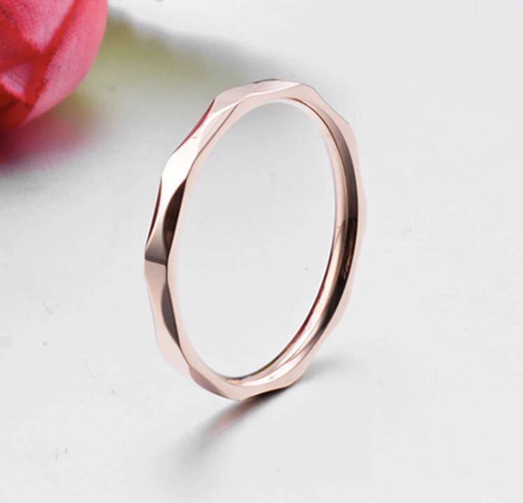 新品 13号 ピンクゴールド カットリング ステンレス 18kgp 高品質 エンゲージリング 結婚指輪 特価 送料無料_画像2