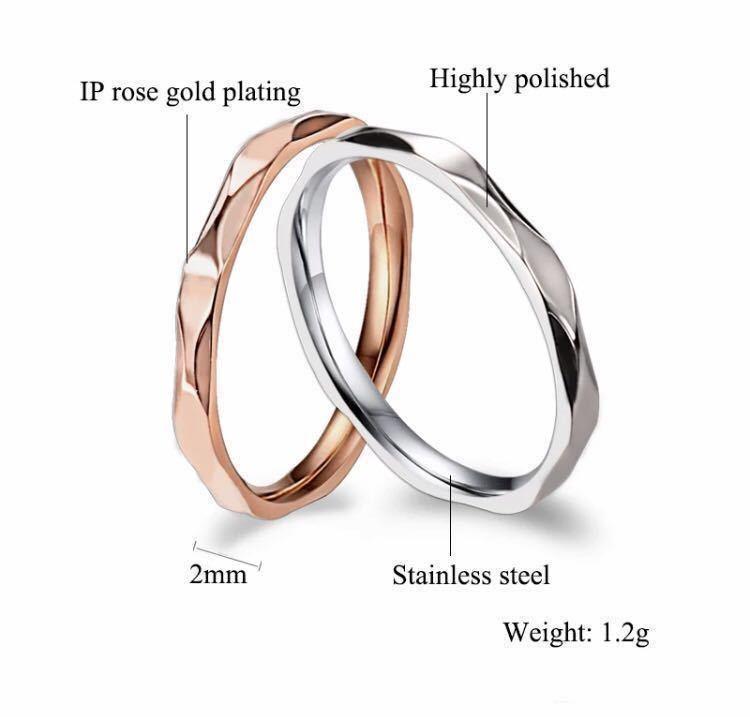 新品 13号 ピンクゴールド カットリング ステンレス 18kgp 高品質 エンゲージリング 結婚指輪 特価 送料無料_画像5