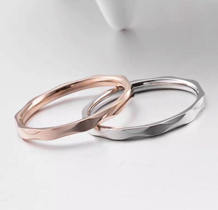 新品 13号 ピンクゴールド カットリング ステンレス 18kgp 高品質 エンゲージリング 結婚指輪 特価 送料無料_画像1