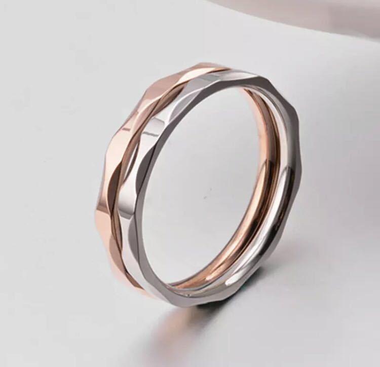 新品 13号 ピンクゴールド カットリング ステンレス 18kgp 高品質 エンゲージリング 結婚指輪 特価 送料無料_画像3