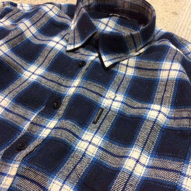 新品 チェック柄ネルシャツ メンズM 送料無料 人気商品 1点のみ 長袖シャツ ネイビー×ホワイト