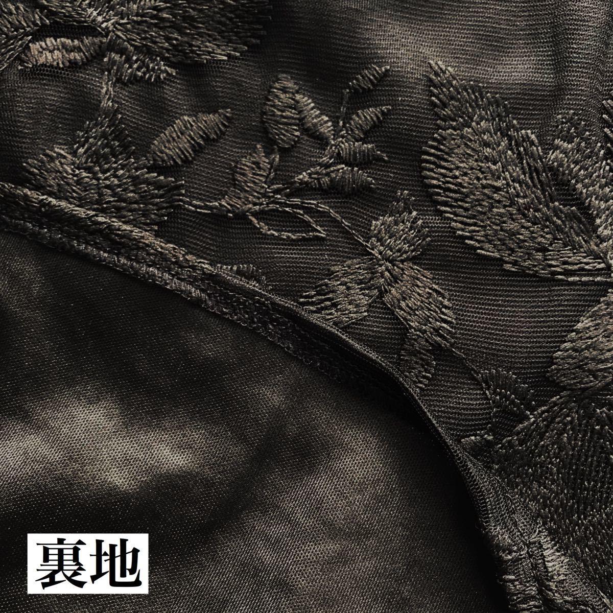 ブラウス 韓国 黒 トップス レディース 花柄 レース バルーン袖 シースルー