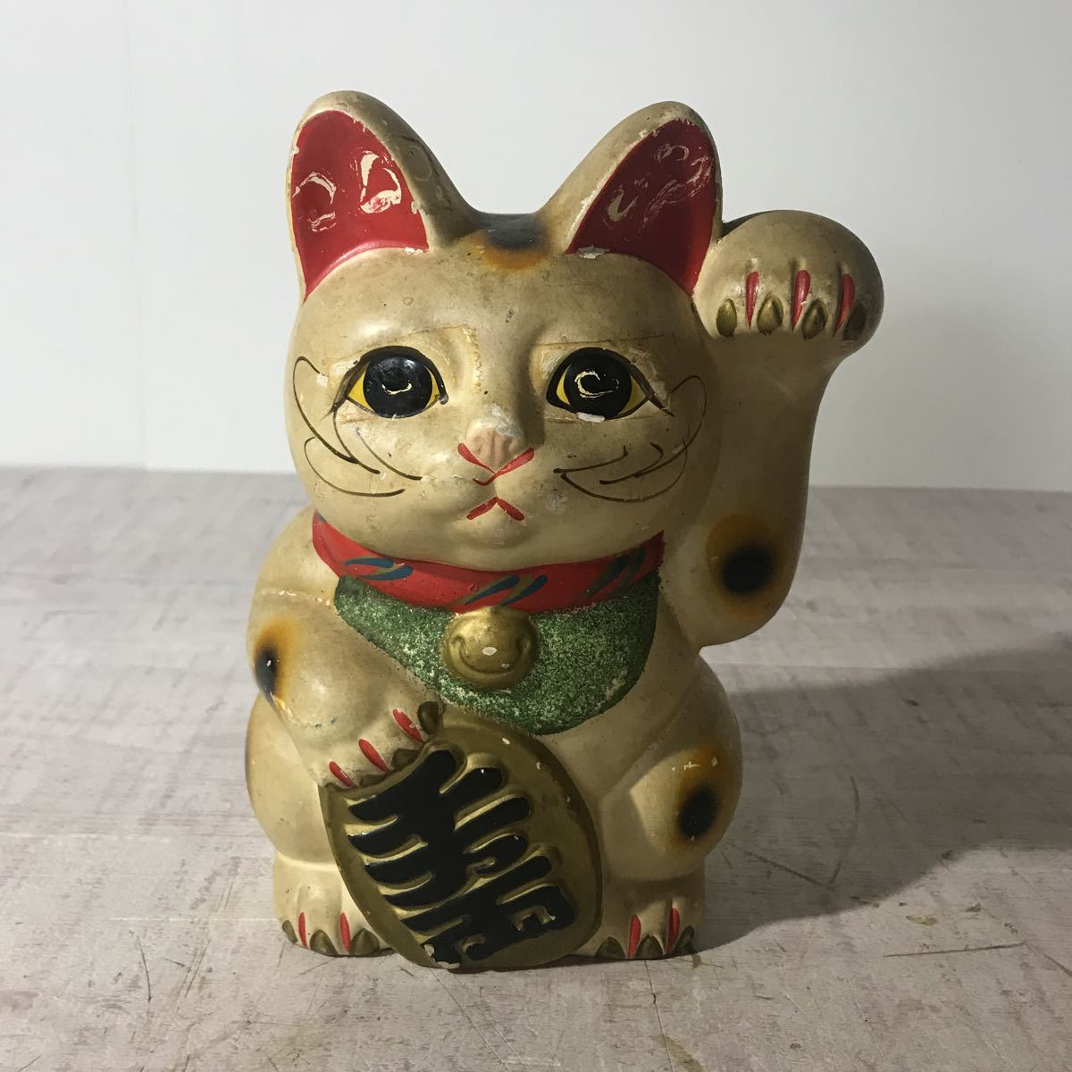 0925-3 蔵出し 城下町山形旧商店排出品 時代物 古い招き猫貯金箱 大_画像1