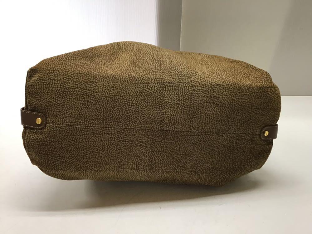 Borbonese/ボルボネーゼ ボストンバッグ うずら柄 ハンドバッグ イタリア製 スエード&レザー ブラウン 中古_画像5