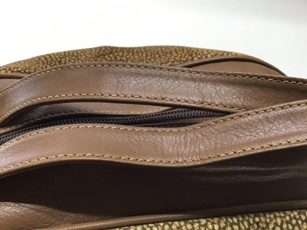 Borbonese/ボルボネーゼ ボストンバッグ うずら柄 ハンドバッグ イタリア製 スエード&レザー ブラウン 中古_画像3
