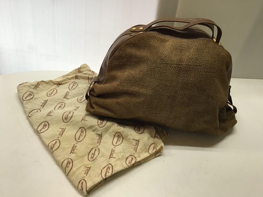Borbonese/ボルボネーゼ ボストンバッグ うずら柄 ハンドバッグ イタリア製 スエード&レザー ブラウン 中古_画像1