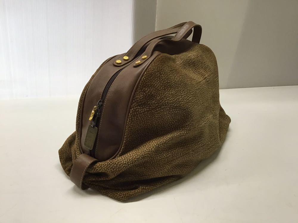 Borbonese/ボルボネーゼ ボストンバッグ うずら柄 ハンドバッグ イタリア製 スエード&レザー ブラウン 中古_画像8