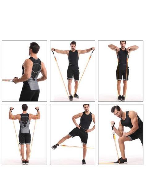 トレーニングチューブ 超強化 チューブトレーニング 腕、背中、脚、胸部、腹部、臀部用の6本の積み重ね可能な抵抗チューブ 耐破損設計