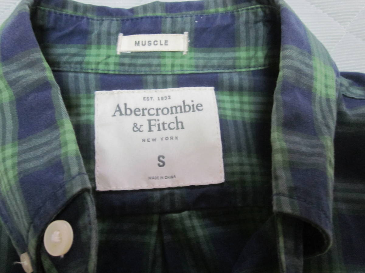 Abercrombie & Fitch NEW YORK muscle 緑系 メンズ長袖チェックシャツSサイズ