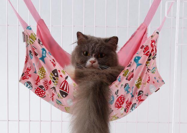 猫用ハンモック★春夏秋用★かわいいリバーシブル★温かくて快適★猫ちゃんの好きな場所に吊り下げてあげられるナスカン付き☆ピンク