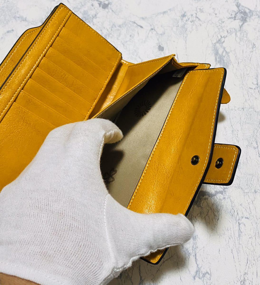 大容量 牛革 財布 カード21枚収納 二つ折り 折財布 スマホ収納可能 本革 メンズ レディス イエロー_画像9