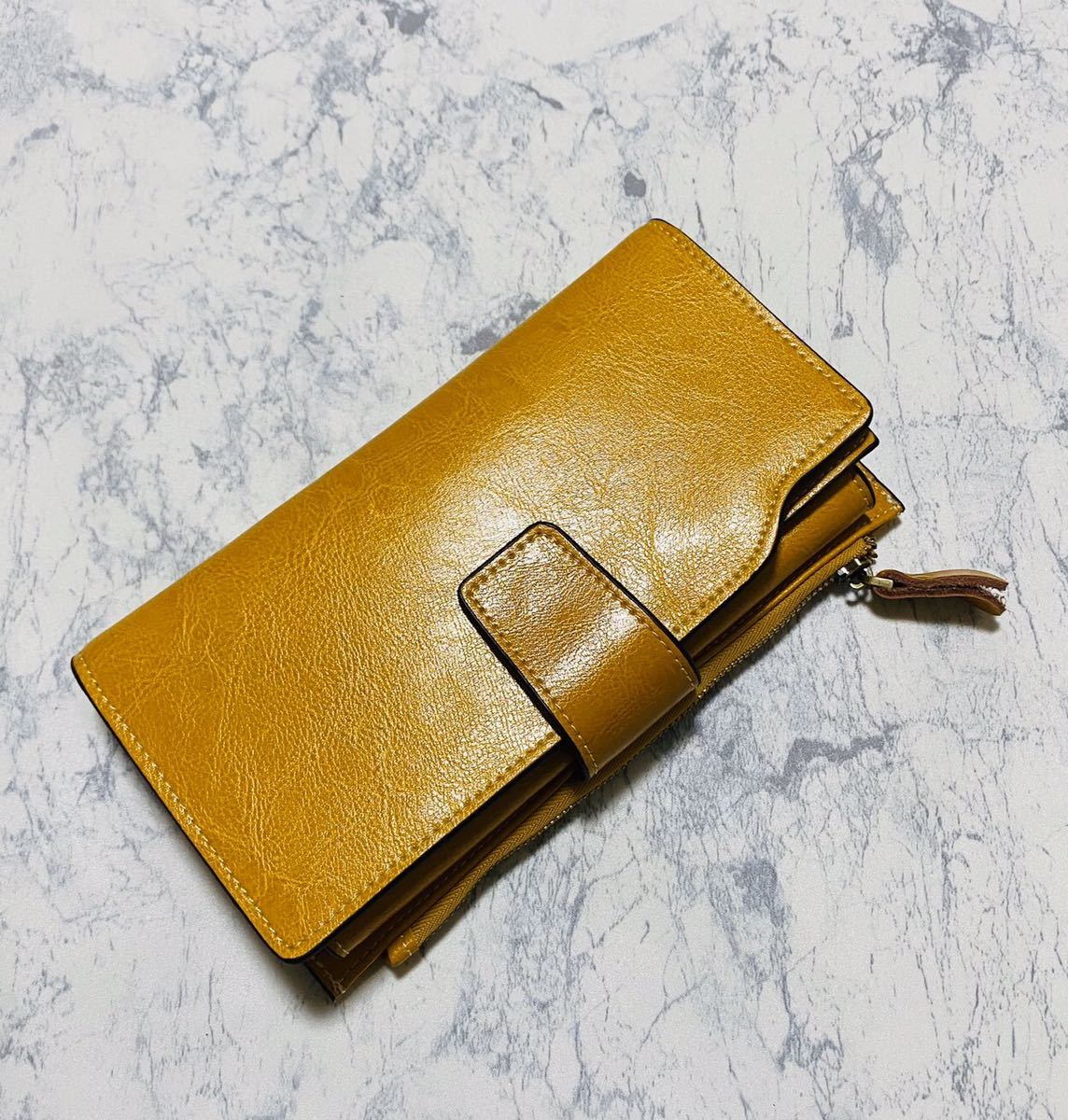 大容量 牛革 財布 カード21枚収納 二つ折り 折財布 スマホ収納可能 本革 メンズ レディス イエロー_画像2