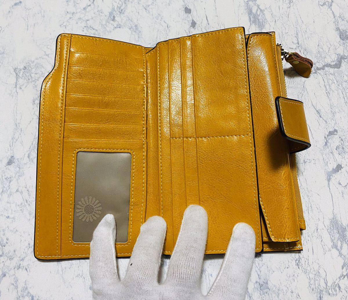 大容量 牛革 財布 カード21枚収納 二つ折り 折財布 スマホ収納可能 本革 メンズ レディス イエロー_画像6