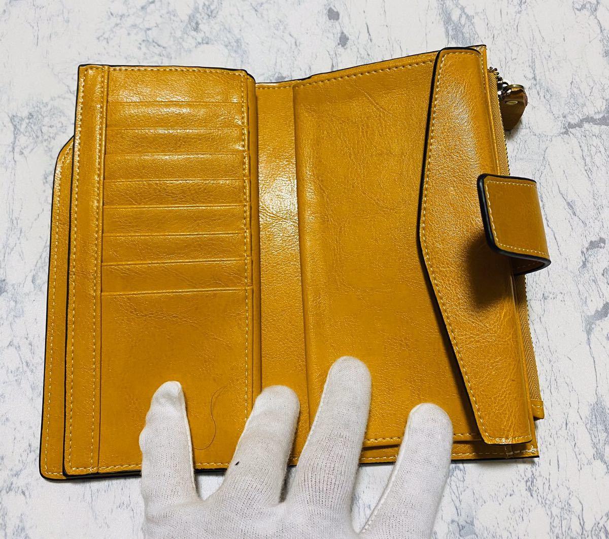 大容量 牛革 財布 カード21枚収納 二つ折り 折財布 スマホ収納可能 本革 メンズ レディス イエロー_画像7