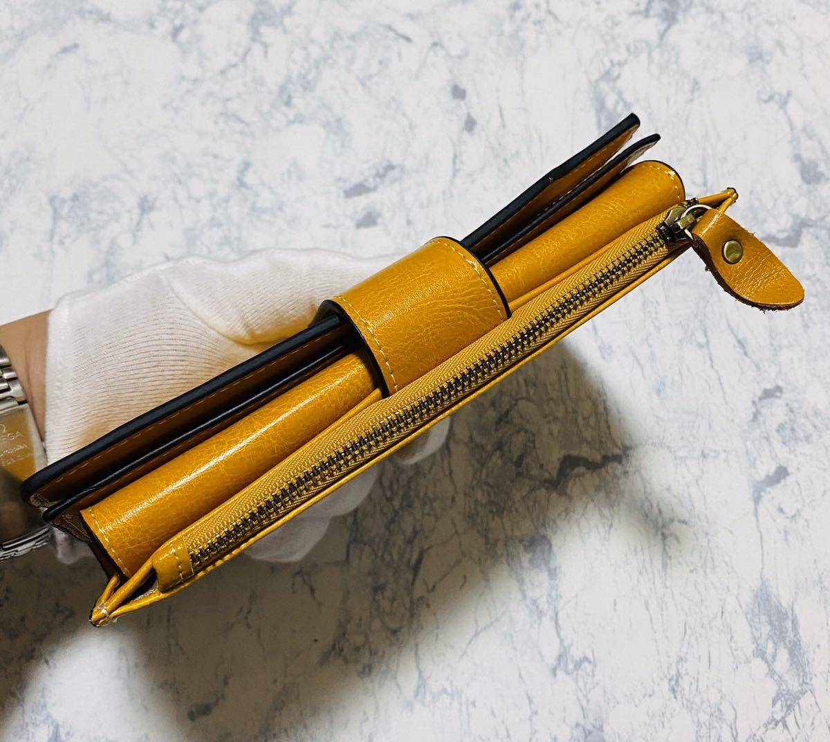 大容量 牛革 財布 カード21枚収納 二つ折り 折財布 スマホ収納可能 本革 メンズ レディス イエロー_画像4