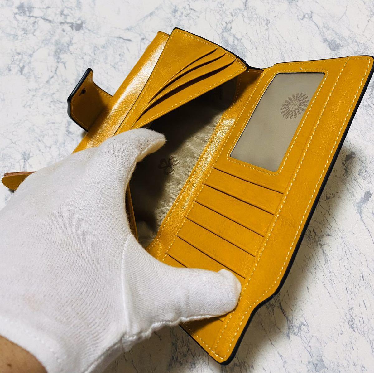 大容量 牛革 財布 カード21枚収納 二つ折り 折財布 スマホ収納可能 本革 メンズ レディス イエロー_画像10