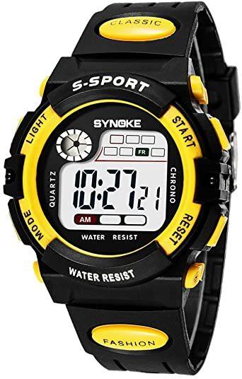 イエロー 子供腕時計防水 デジタル表示 ledライト付き アラーム ストップウォッチ機能 12/24時刻切替え多機能スポーツ腕時_画像1