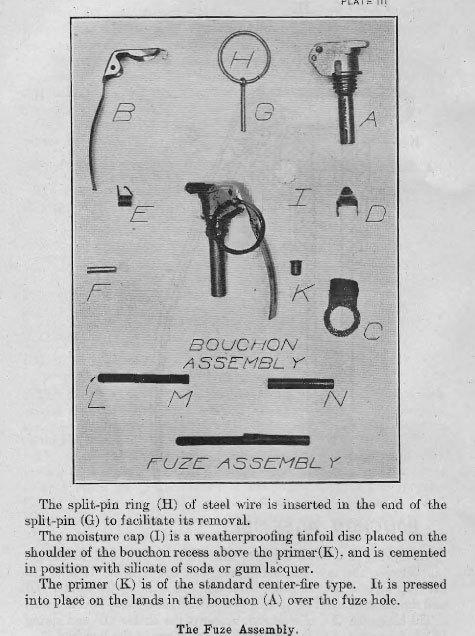 米軍 Mk2 手榴弾 初期型 レバー レプリカ_初期型の信管分解図。