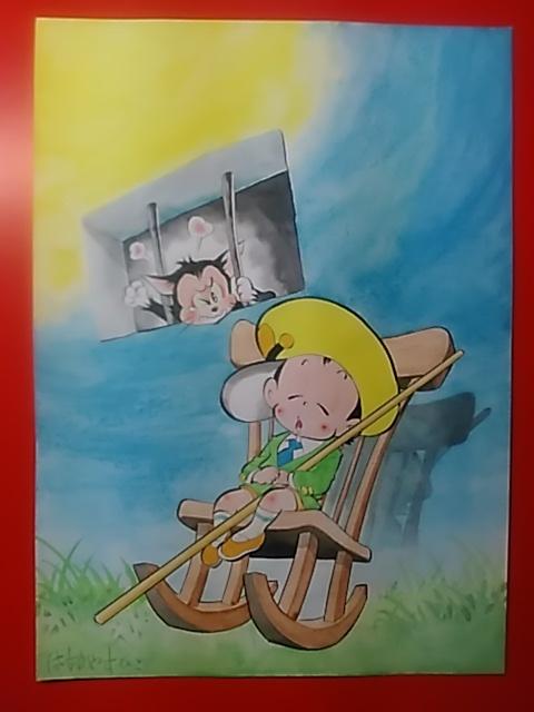ひまで署オマワリ君 新作・第3話ー猫がネズミをとったら有罪? 【 手描き、カラー原画 15枚 】_画像1