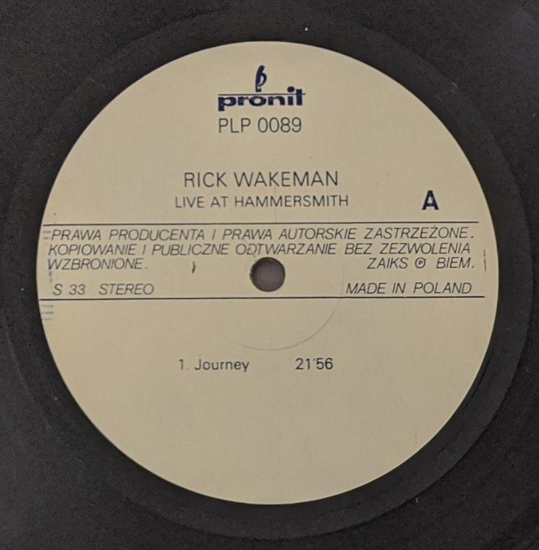 Rick Wakeman (Ex Yes) - Live ポーランド・ファースト・プレス・アナログ・レコード