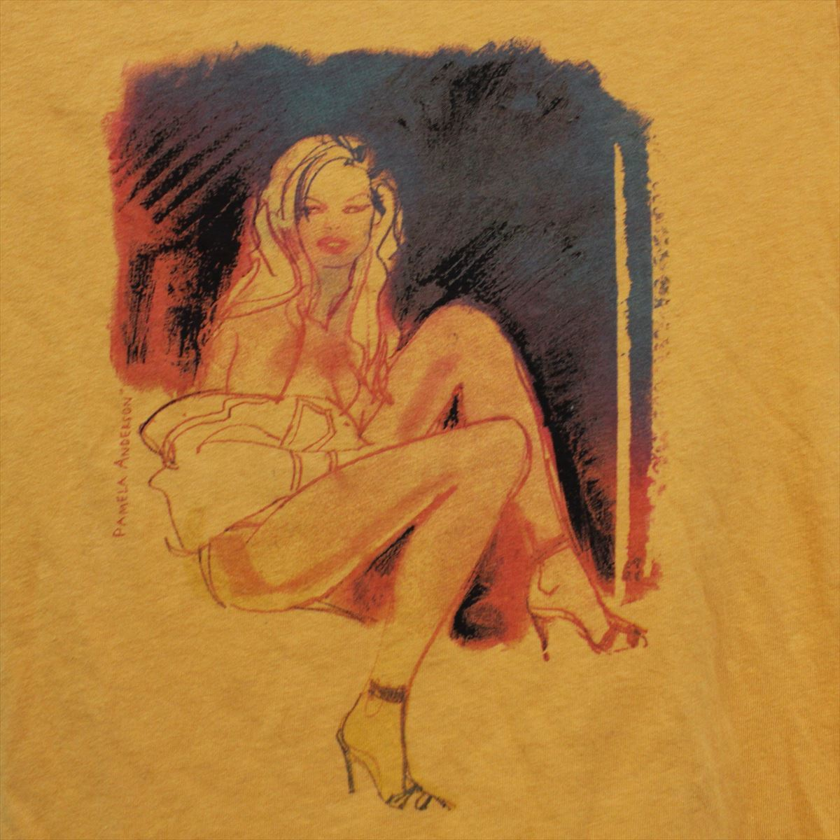 パメラアンダーソン Pamera Anderson レディース半袖Tシャツ オレンジ Sサイズ アウトレット 新品_画像2