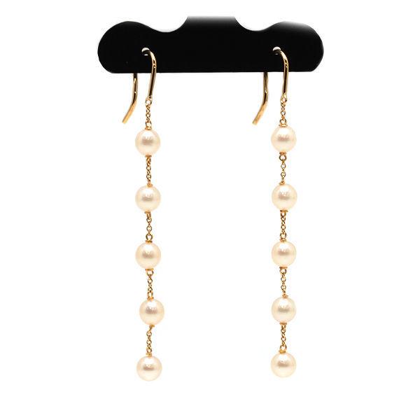 Tiffany&Co. ティファニー パール バイザヤード チェーンピアス K18 18金 ゴールド 真珠 揺れる ロング フックピアス 14973