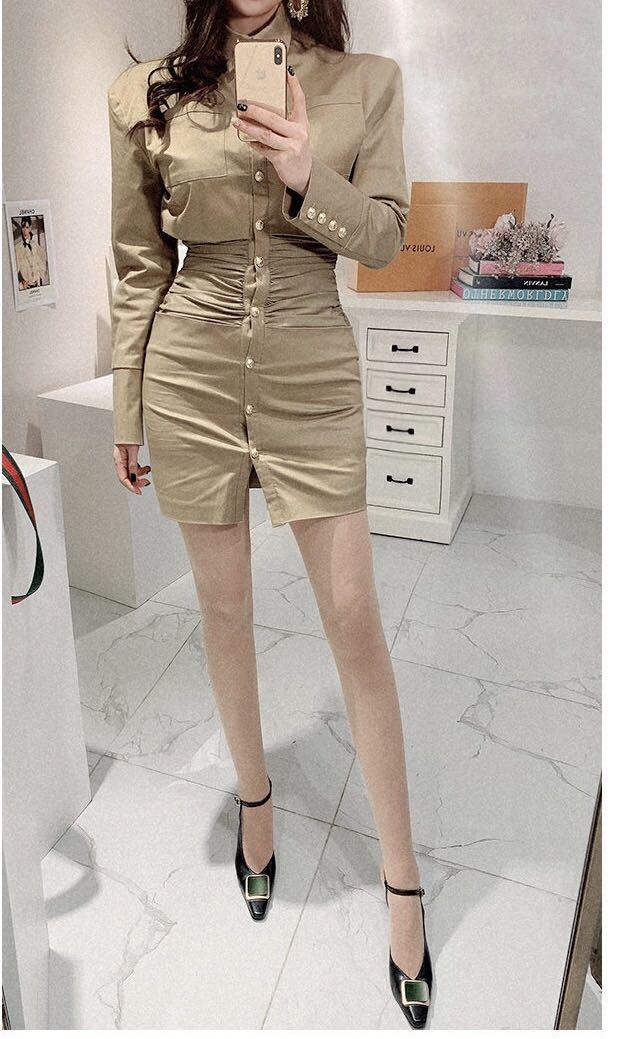 ワンピースドレス シャツワンピース ミニ丈 長袖 c1200