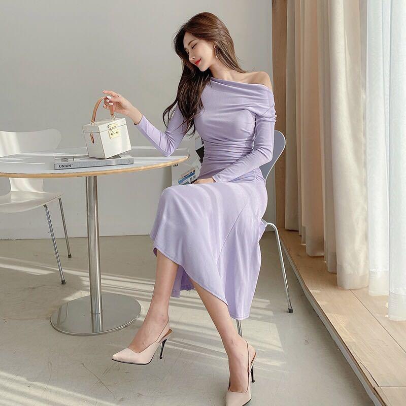 ワンピースドレス aラインワンピース ロング丈ドレス 姫系ワンピ 長袖 フレア c1183