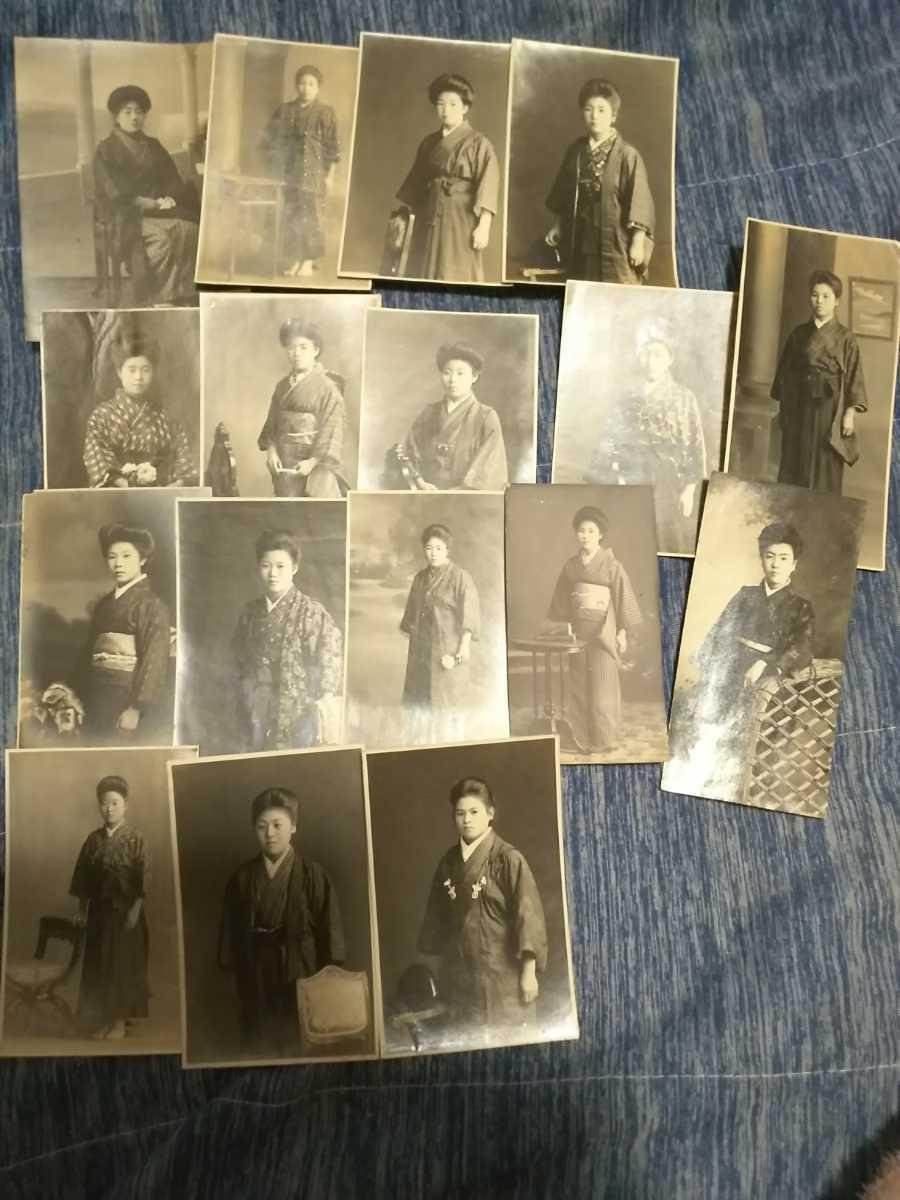古写真 女学生、はいからさん、袴女子、美人、美少女、女性 (明治 大正 昭和 戦前)名刺サイズの大判写真_画像2