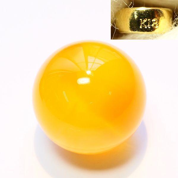 K18/18金金具 琥珀 アンバー 乳白色玉型,グリッター細工入楕円形,涙型 計3種 ペンダントトップ【黒檀堂】_画像2