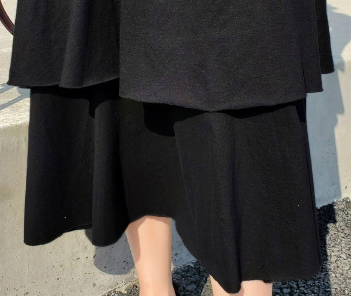 ワンピース フリル 半袖 ブラック 黒 ティアード 秋 体型カバー L ロング