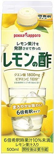 送料無料 ポッカサッポロ レモン果汁を発酵させて作ったレモンの酢 (紙パック) 500ml×6本_画像1