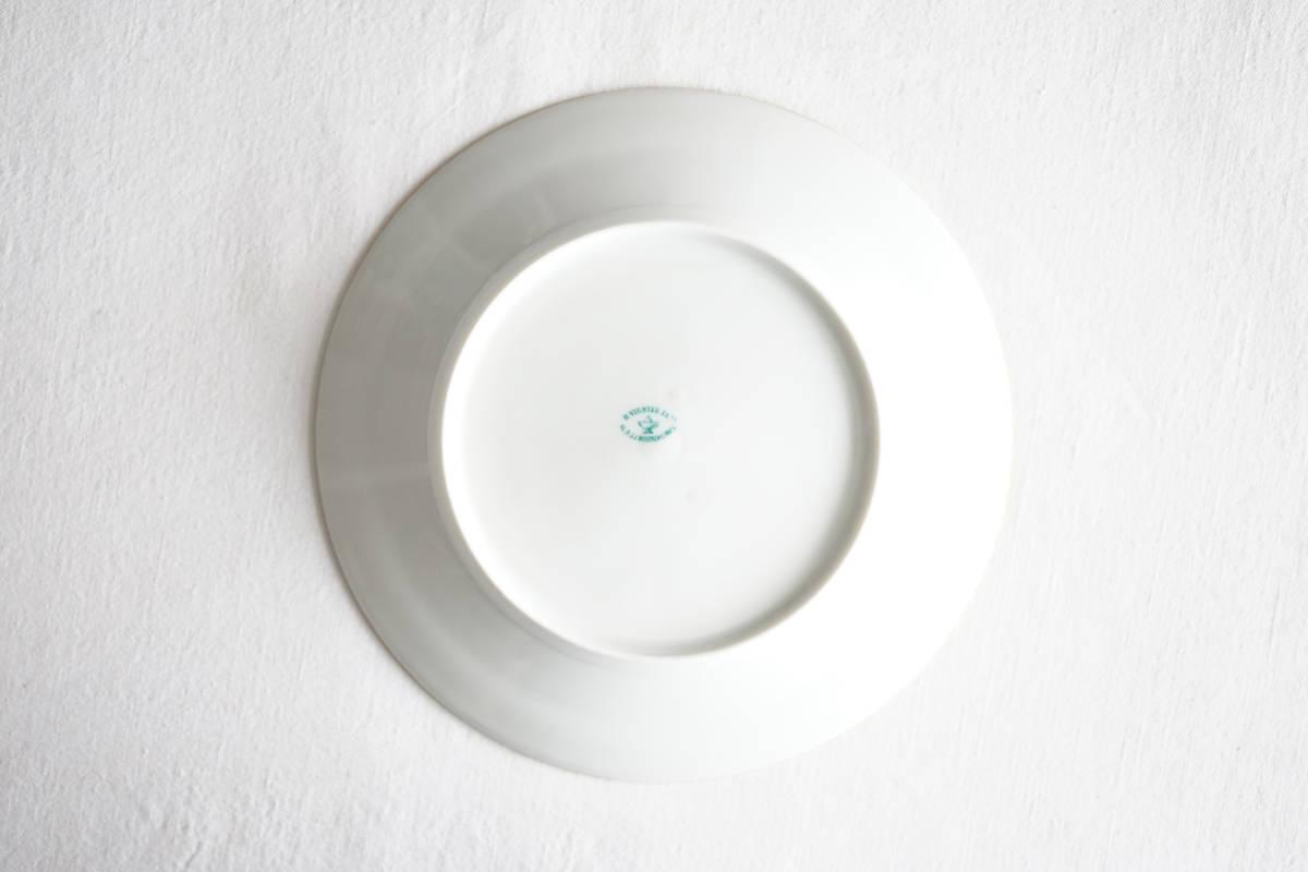 パリ窯 OLD PARIS 金彩白磁輪線プレート リム皿 / 19世紀・フランス / アンティーク 古道具 陶器 G