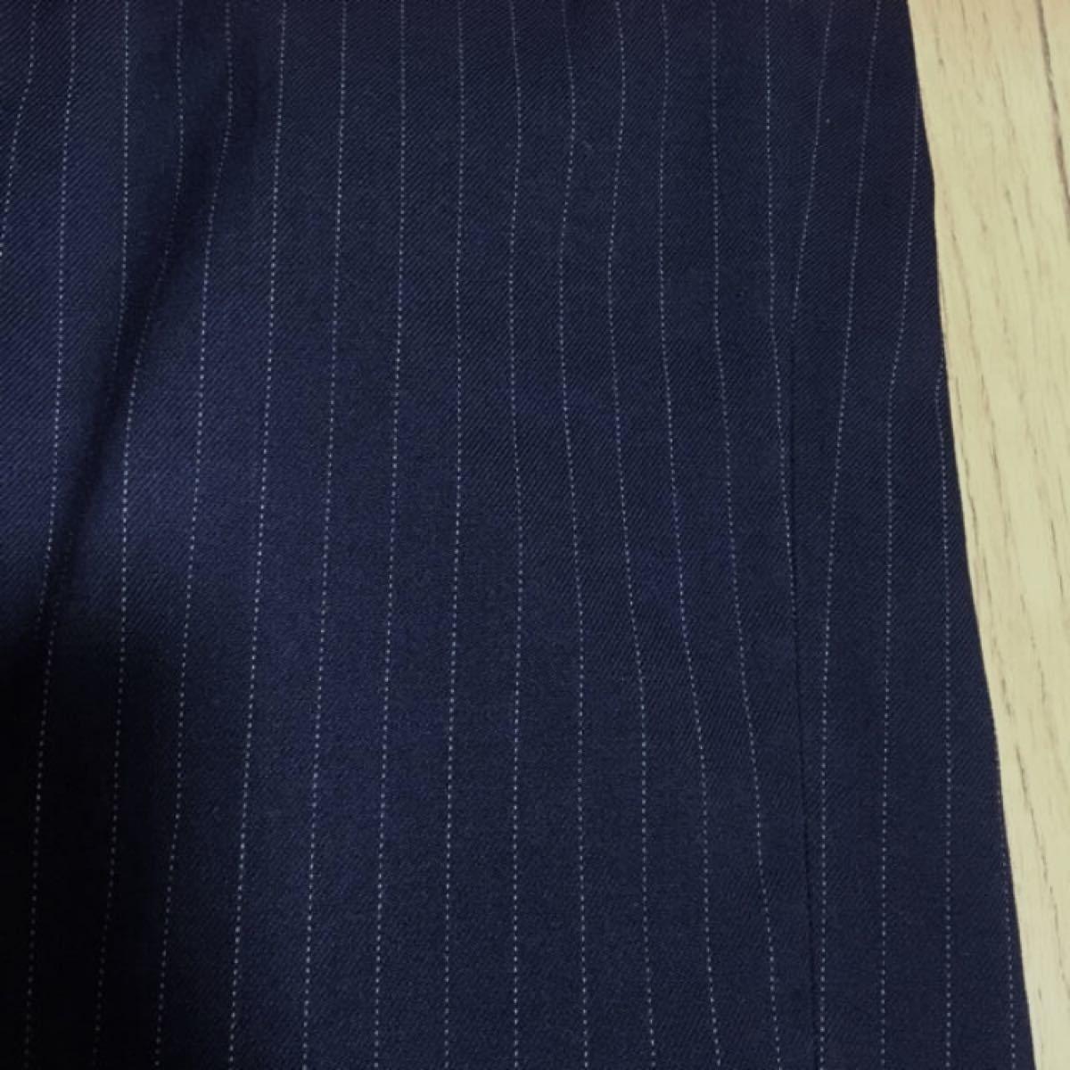 クロップドパンツストレッチ◆UNIQLO テーパード/秋紺色ストライプ足痩せ効果