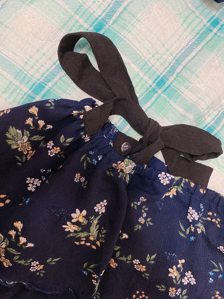 半袖 トップス ブラウス 紺色 花柄