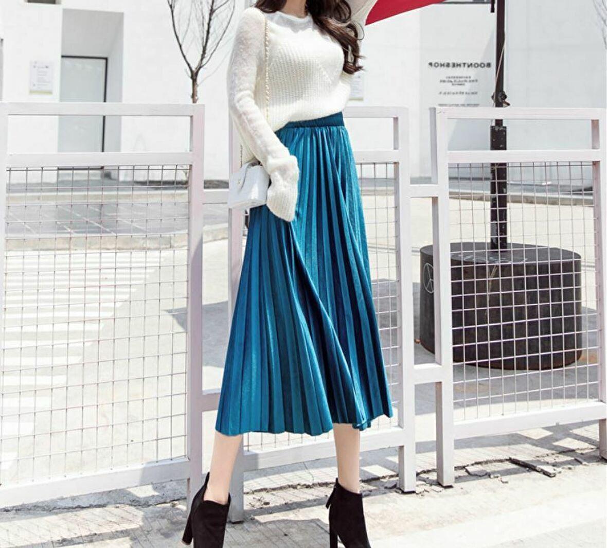 【新品】レディース スカート プリーツ ロング ベロア風 ブルー 青 秋 冬 おしゃれ かわいい ウエスト ゴム M_画像3