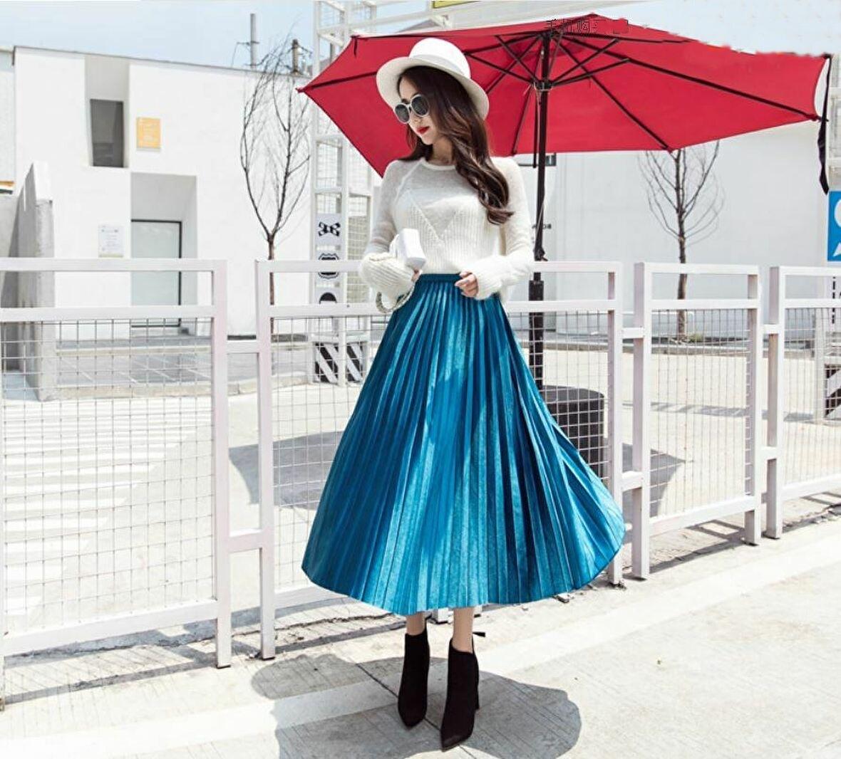 【新品】レディース スカート プリーツ ロング ベロア風 ブルー 青 秋 冬 おしゃれ かわいい ウエスト ゴム M_画像2