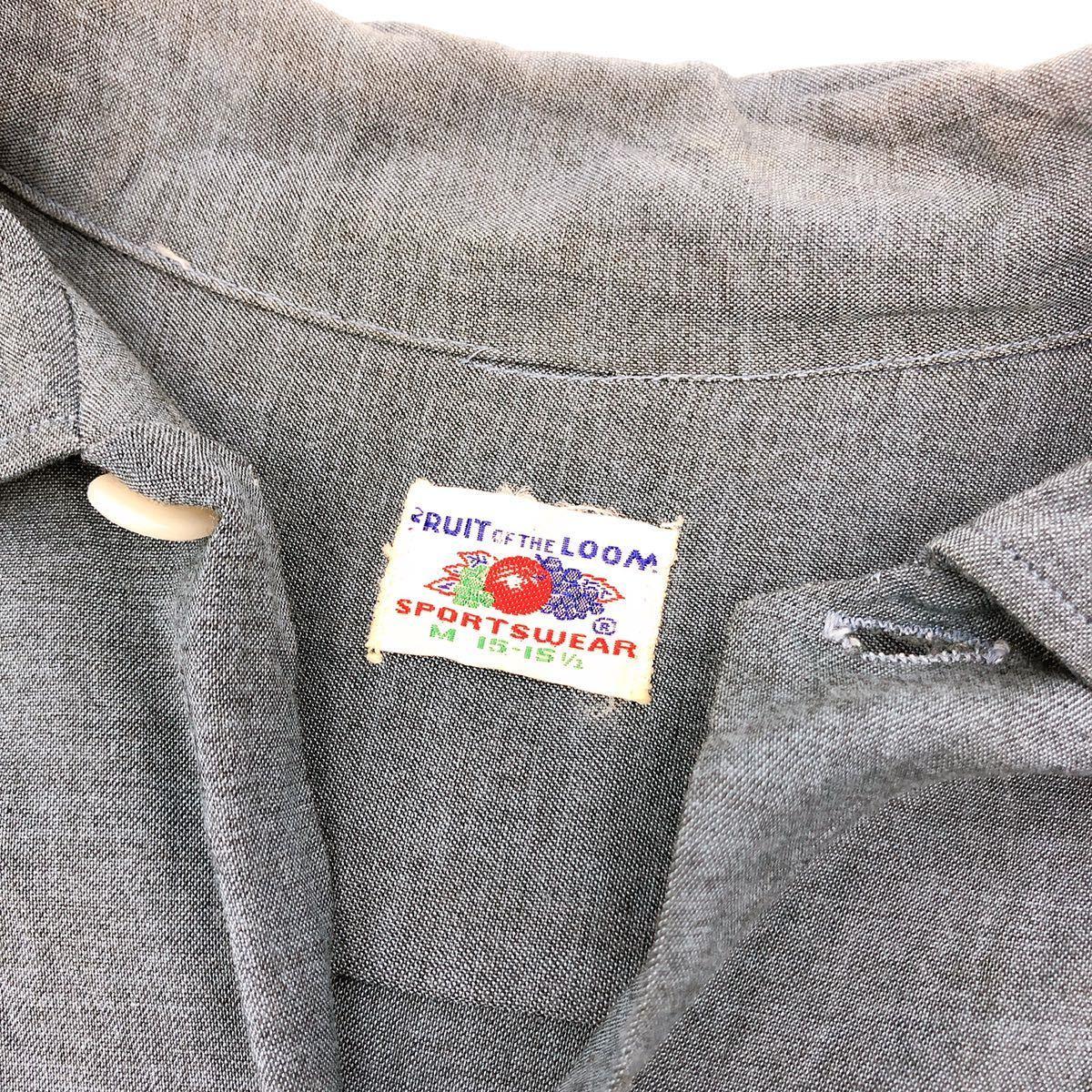 [ FRUIT OF THE LOOM/ フルーツオブザルーム ] 50s 60s カスリ柄 オープンカラー シャツ ビンテージ vintage 希少