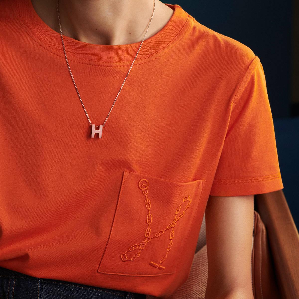《Pop H》エルメス/HERMES【ローズ・ドラジェ×ピンクゴールド】ネックレス/アクセサリー/ペンダント/ポップ H/ローズゴールド_画像3