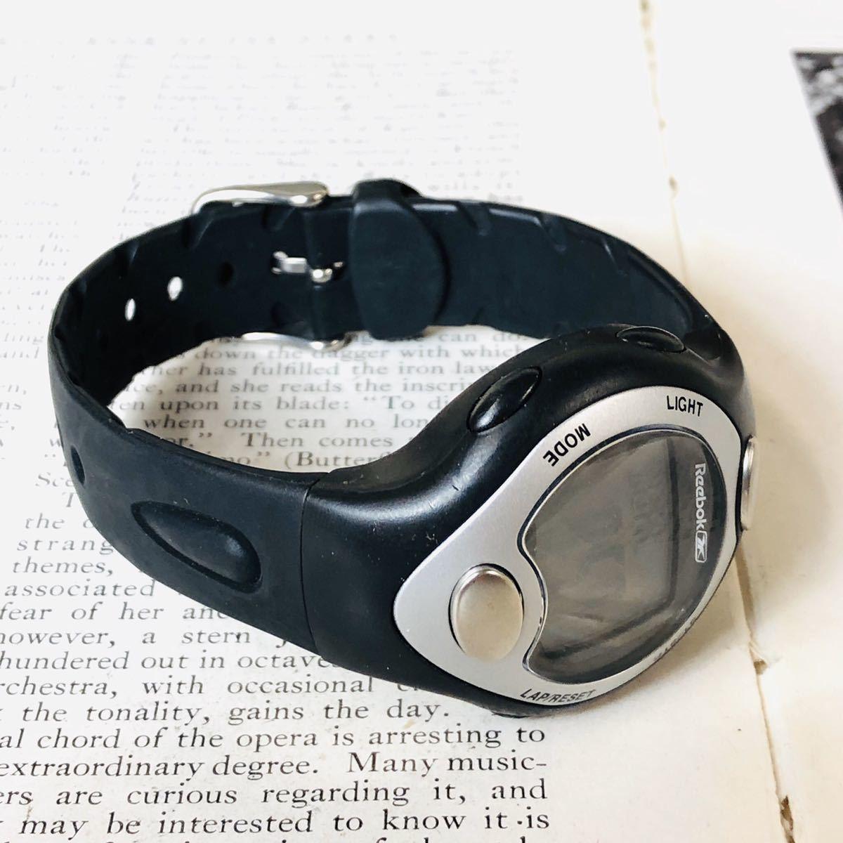 Reebok リーボック 腕時計 マットサテンシルバーカラー ブラック 心拍計 クロノ タイマー デジタル 稼動品 W730_画像5