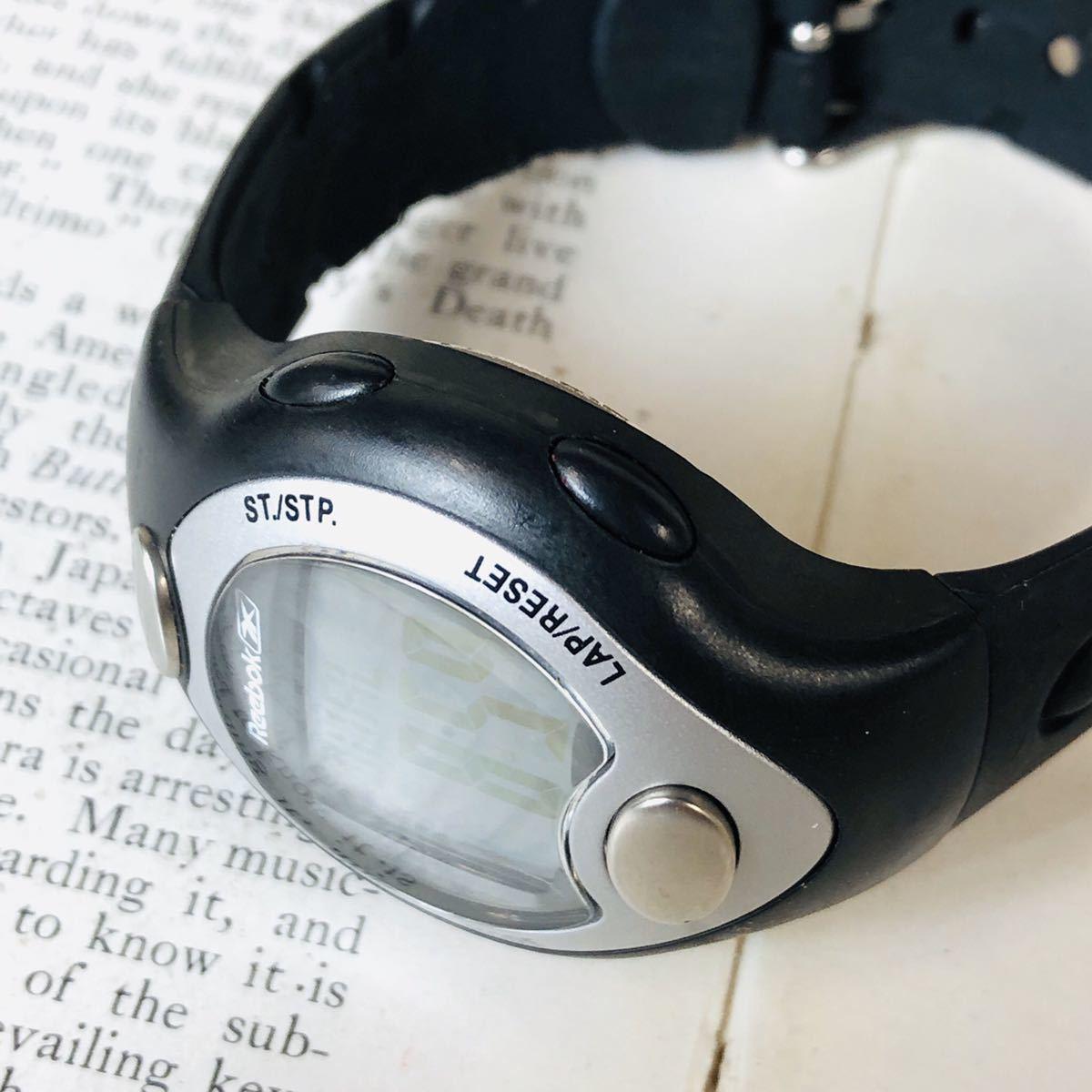 Reebok リーボック 腕時計 マットサテンシルバーカラー ブラック 心拍計 クロノ タイマー デジタル 稼動品 W730_画像4
