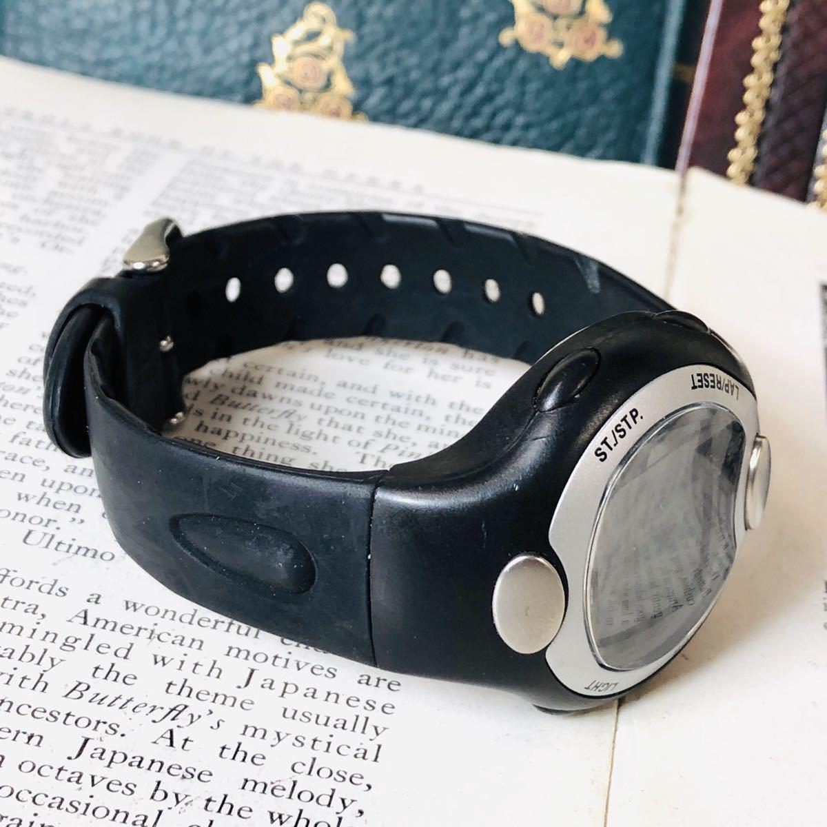 Reebok リーボック 腕時計 マットサテンシルバーカラー ブラック 心拍計 クロノ タイマー デジタル 稼動品 W730_画像3