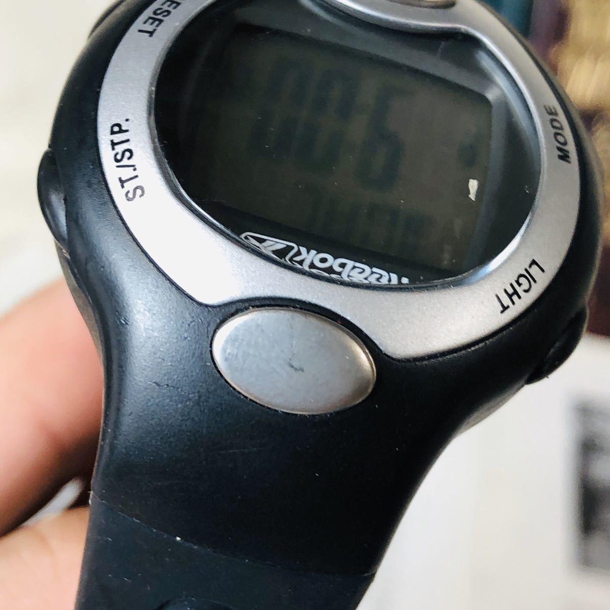 Reebok リーボック 腕時計 マットサテンシルバーカラー ブラック 心拍計 クロノ タイマー デジタル 稼動品 W730_画像10