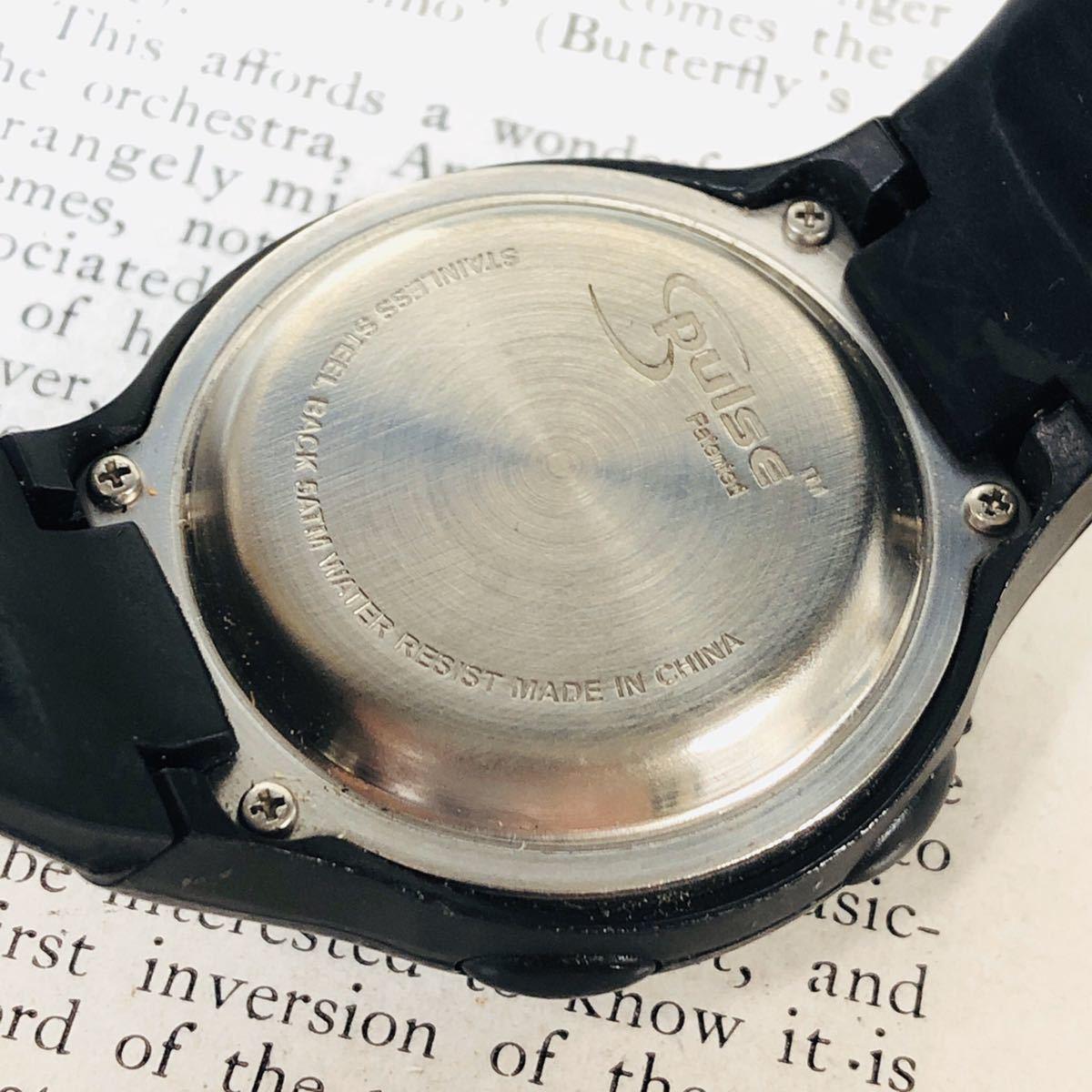 Reebok リーボック 腕時計 マットサテンシルバーカラー ブラック 心拍計 クロノ タイマー デジタル 稼動品 W730_画像8
