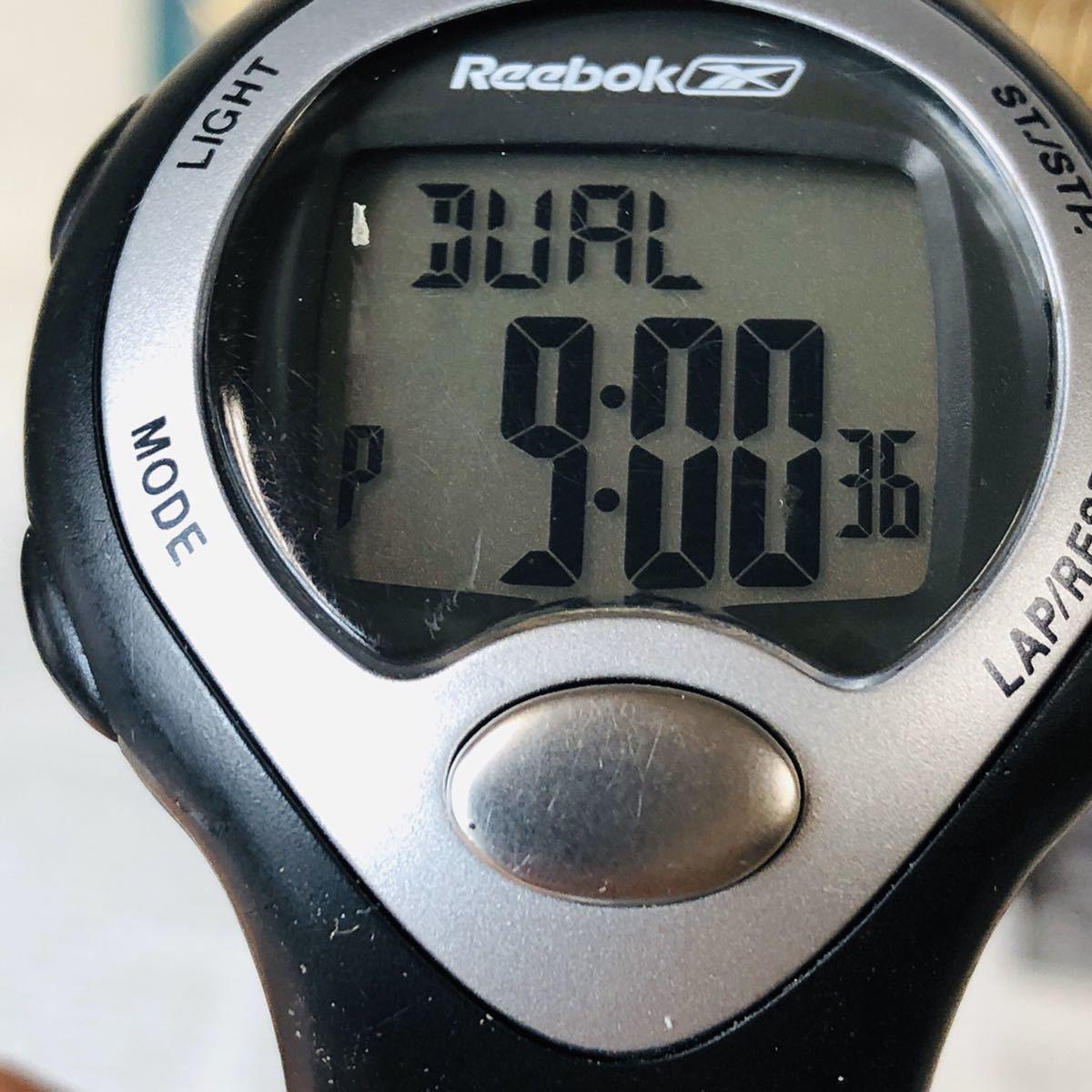 Reebok リーボック 腕時計 マットサテンシルバーカラー ブラック 心拍計 クロノ タイマー デジタル 稼動品 W730_画像9