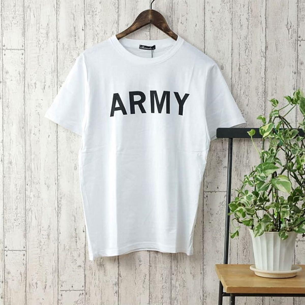 プリントTシャツ メンズ 半袖 クルーネック ARMYプリント L