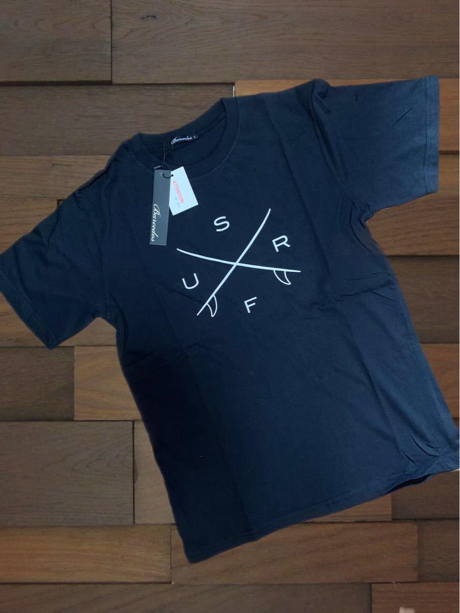 プリントTシャツ 男女兼用 半袖 クルーネック サーフプリント 黒 M/L