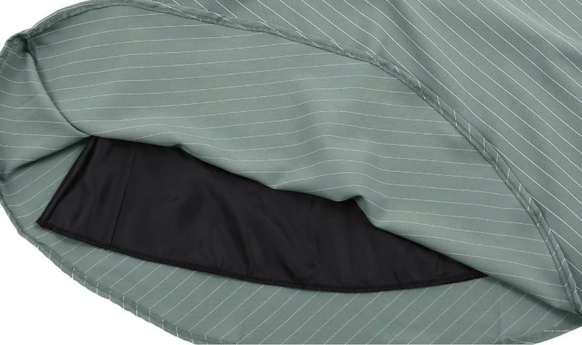 新品 お嬢様ひざ丈ワンピース 7分袖 黒×グリーンッキングフレアスカート L