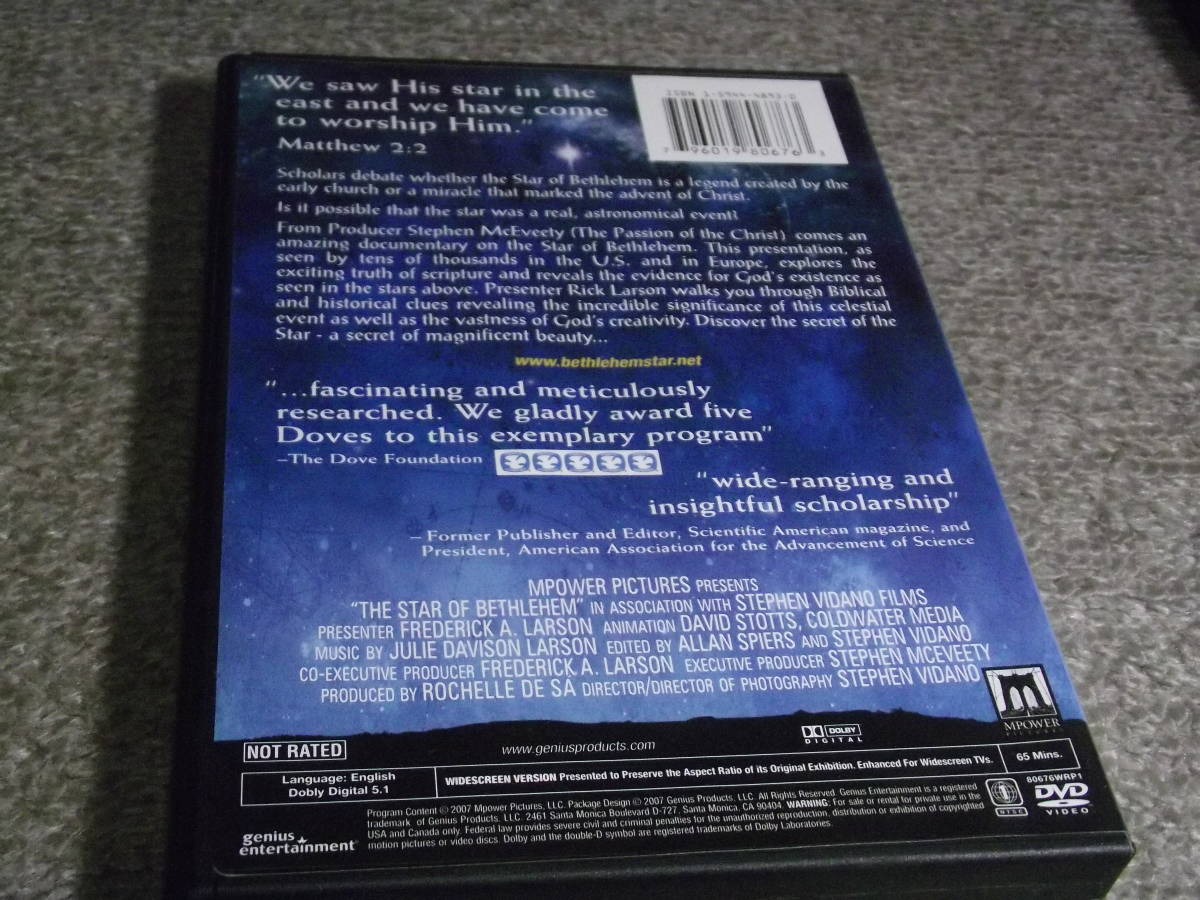 ★The Star Of Bethlehem 輸入盤トールサイズDVDアメリカ盤Region 1(国内用プレイヤーでは再生不可)★2007年発売 MPOWER Pictures 80676_画像2