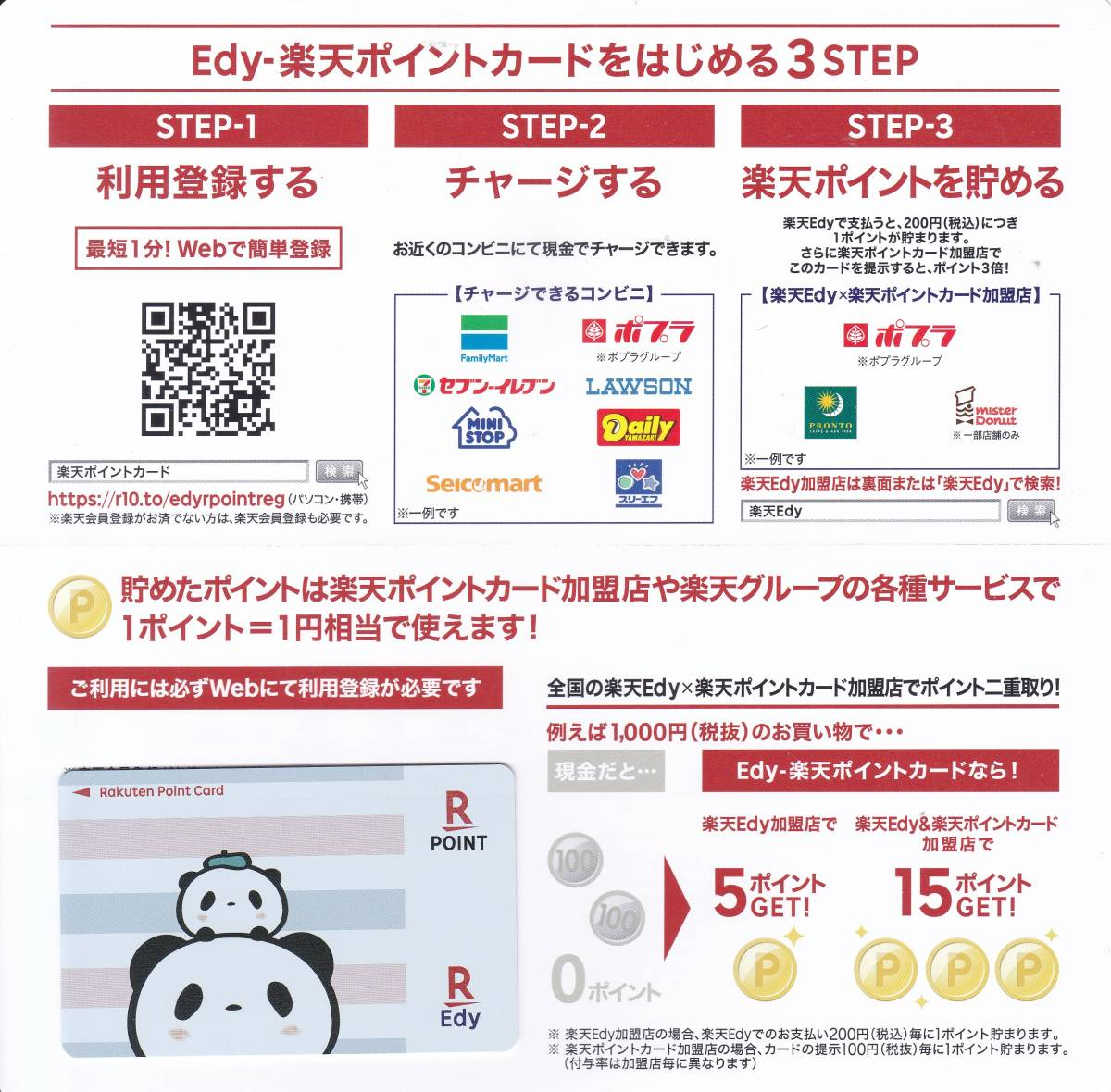 ★【Edy-楽天ポイントカード】★お買い物パンダ(ボーダー)★_画像1